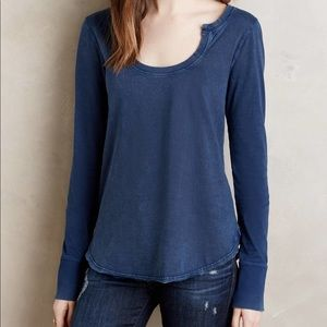 Anthropologie Little Yellow Button Long Sleeve Top